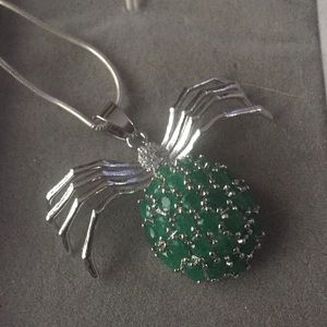 Really pretty spider real green Emerald pendant